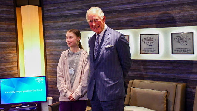 The king-in-waiting exchanged words with the teenage climate activist