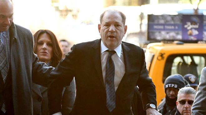 Harvey Weinstein arrives at a Manhattan court on Wednesday