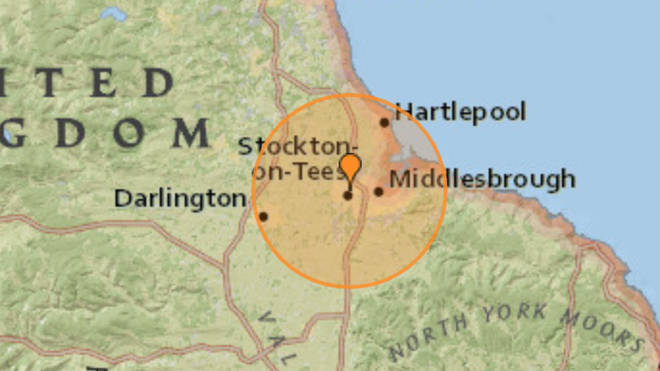 The earthquake was felt near Stockton-on-Tees