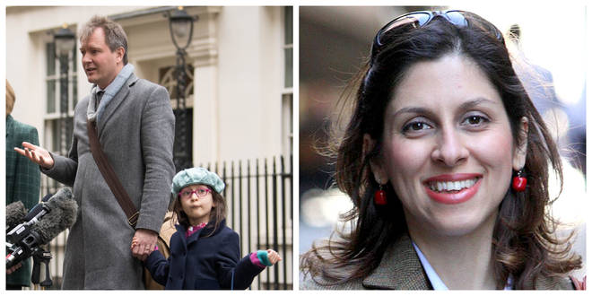 Richard Ratcliffe and daughter Gabriella outside No 10 while Nazanin (right) remains in prison