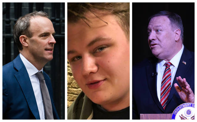 (left to right) Dominic Raab, Harry Dunn and Mike Pompeo