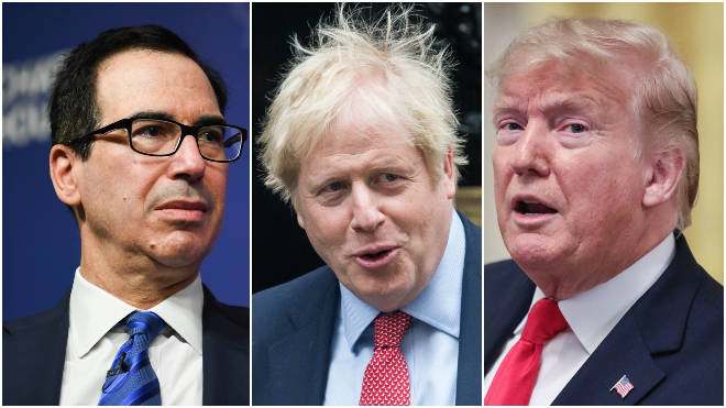 "Mr Mnuchin (L) is ""quite optimistic"" about striking a US-UK trade deal"