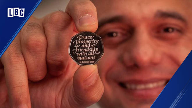 Sajid Javid reveals the Brexit 50p coin