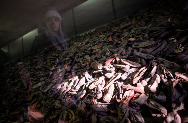 The prisoners' shoes on show at Auschwitz