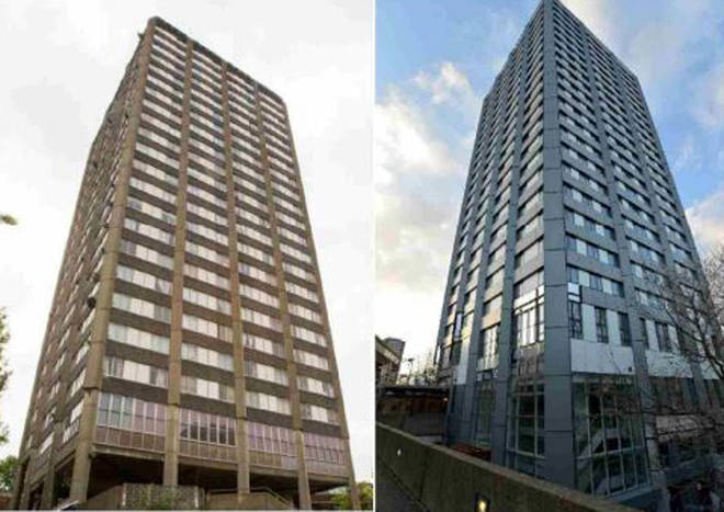 Before (left) and after (right) Grenfell Tower was refurbished with flammable cladding