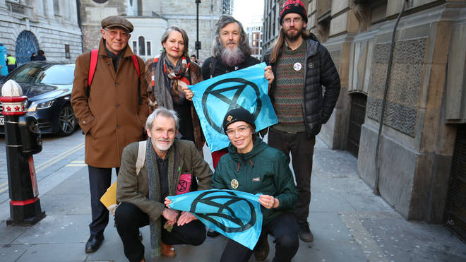 Sir David King (back left), Claudia Fisher, 57, Senan Clifford, 59, and Ben Bont ( back right), 42, and David Lambert (front left), 60, Phoebe Valentine (front right), 23,