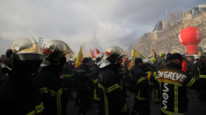 Firefighters clashed with riot police in Place de la Nation in Paris