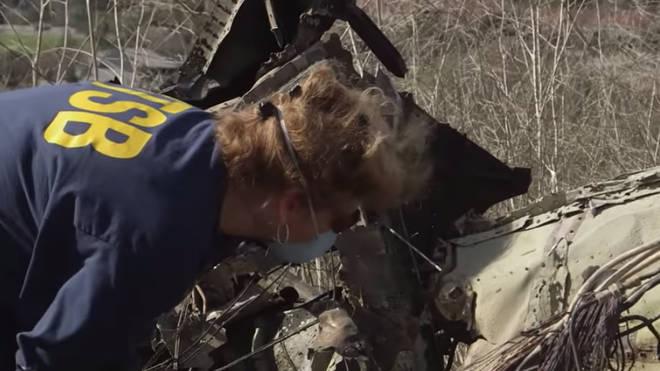 NTSB investigators at the scene of the crash
