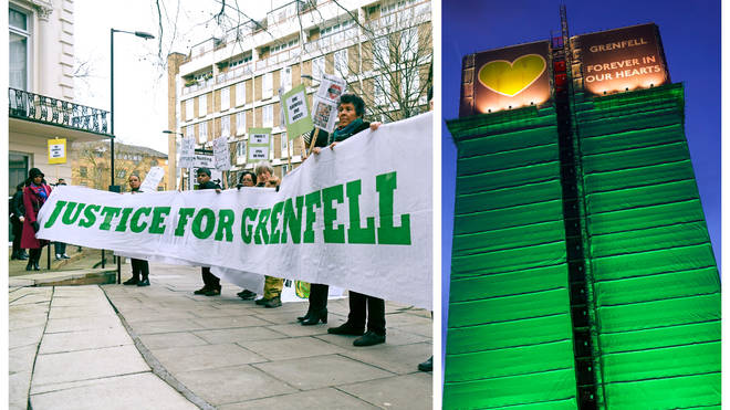Protesters outside the Grenfell Tower fire inquiry