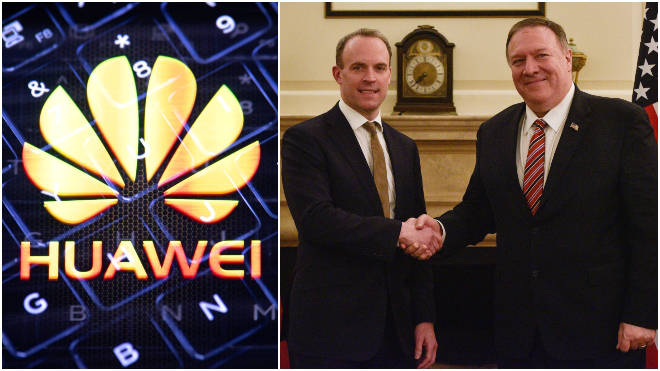 Mike Pompeo is meeting with Dominic Raab to discuss Huawei