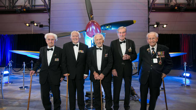 Battle of Britain veterans (left to right) Flying Officer Ken Wilkinson, pilot Geoffrey Wellum, Squadron Leader Tony Pickering, Wing Commander Paul Farnes and Spitfire fitter Sergeant Stan Hartill pictured in 2015