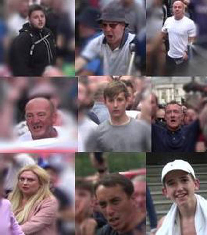 Met Police are trying to identify nine people from the Free Tommy Robinson protests