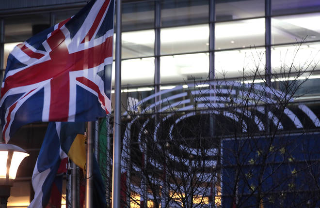 The UK flag outside the EU Parliament