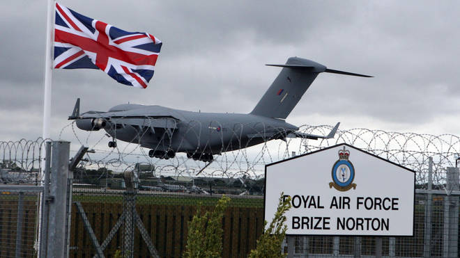 The plane is expected to land at the Brize Norton RAF base at 1.30pm