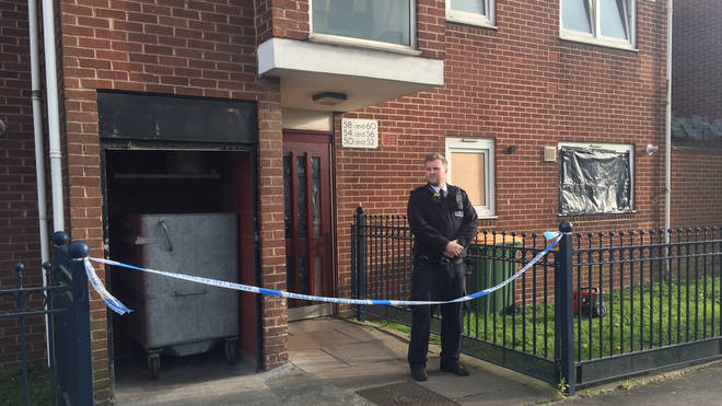 Police cordoned off the Canning Town flat