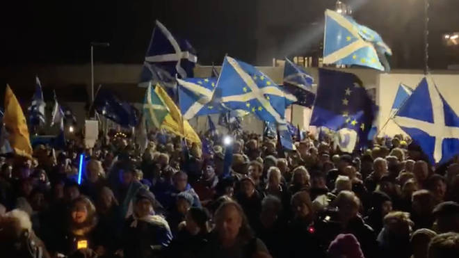 A huge crowd gathered outside the Scottish Parliament in Edinburgh