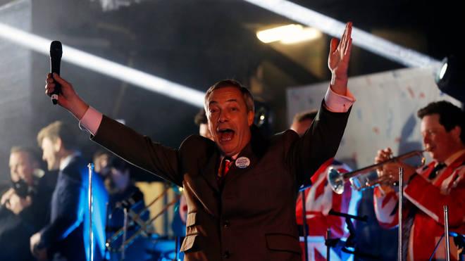 Nigel Farage celebrates as Britain leaves the EU at 11pm on 31 January