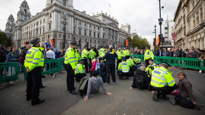 Police at an XR protest in London