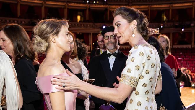 The Duchess of Cambridge (right) with Best Actress Renee Zellweger