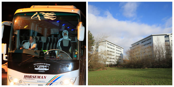 Buses took the quarantined Brits to Arrowe Park Hospital in the Wirral