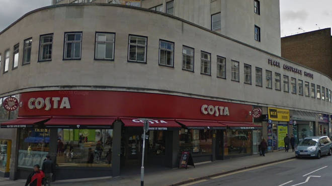 The incident is taking place in a Costa Coffee