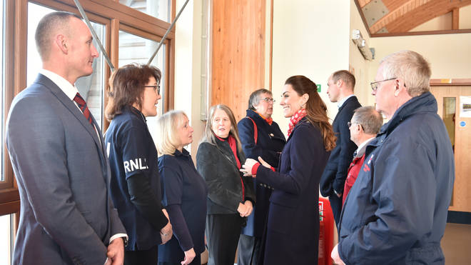 The Duke and Duchess spoke to volunteers at the lifeboat centre
