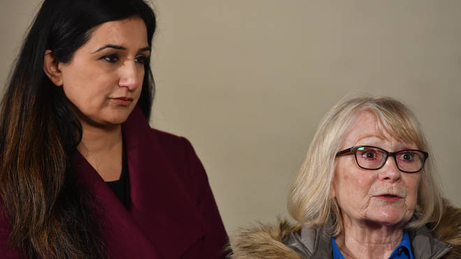 Lesley Cuthbert (right), a victim of Ian Paterson, with her solicitor Kashmir Uppal