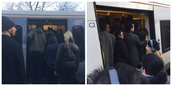 Images posted to social media showed huge delays this morning