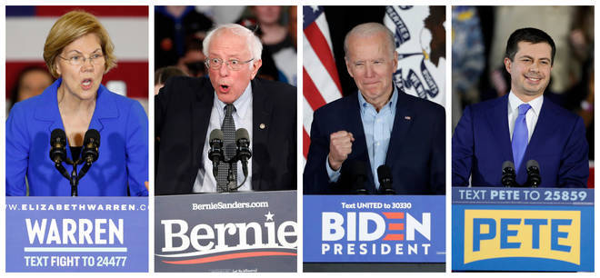 (left to right) Candidates Elizabeth Warren, Bernie Sanders, Joe Biden and Pete Buttigieg.