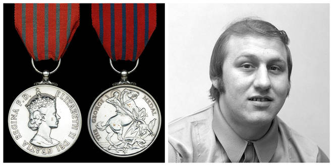 Ronnie Russell and the George Medal he was awarded for saving Princess Anne