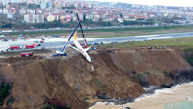 A Pegasus Airlines crashed off the runway in Trabzon in January 2018. Pictured is the recovery effort