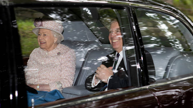 The Queen and Prince Andrew attending a Sunday church service