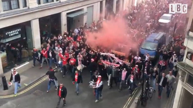 Cologne Fans march through streets of London