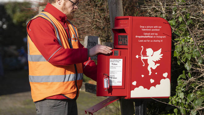 Royal Mail unveiled a special Valentine's Day postbox in the village of Lover