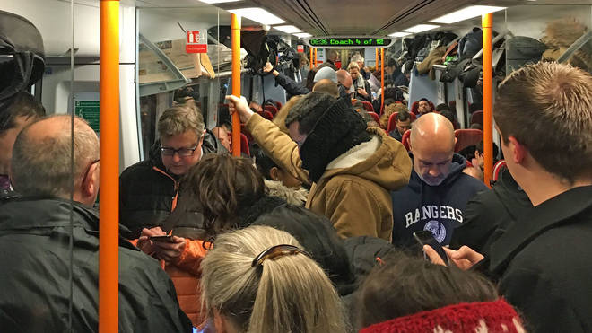 An overcrowded train