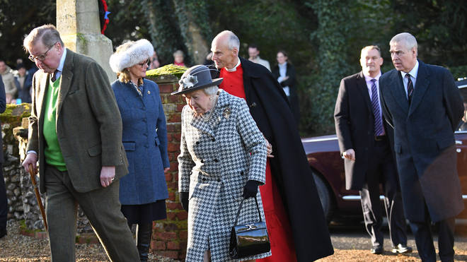 Prince Andrew is seen with his mother going to Church