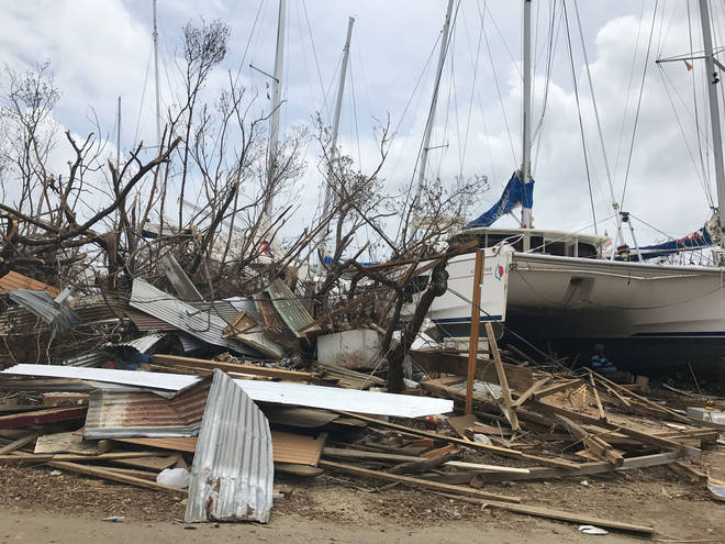 Some of the damage in Tortola in the British Virgin Islands after Hurricane Irma battered the region.