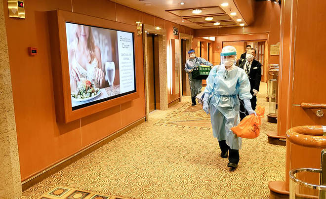 Medical workers aboard the Diamond Princess cruise ship
