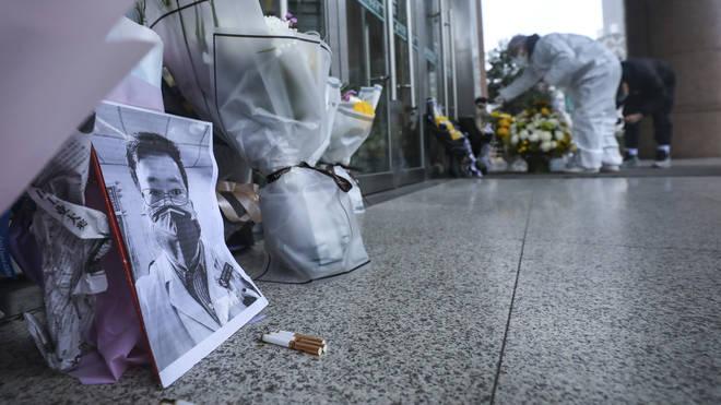 Flowers were left outside Wuhan Central Hospital
