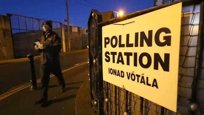 A man enters a Polling Station in Athy, Co Kildare as polls open for the Irish General Election