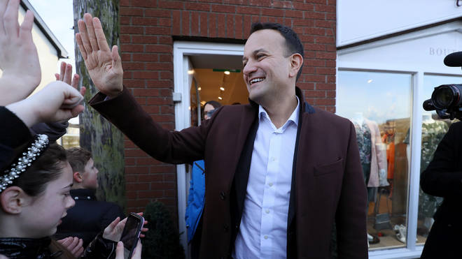 Taoiseach Leo Varadkar high fives local children while on the campaign trail in Enfield, Co. Meath
