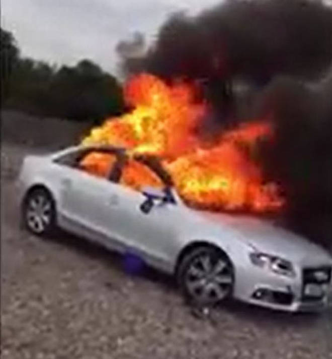 The Audi A4 was destroyed in the riot