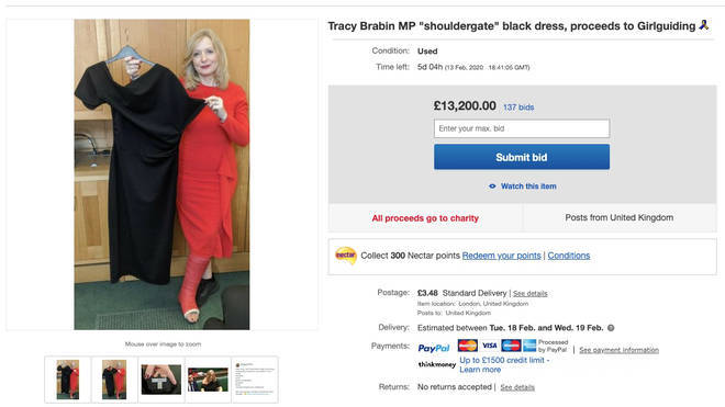 The dress had passed the £13,000 mark on Saturday