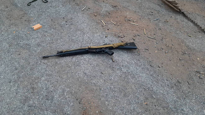 The rifle used by the alleged attacker
