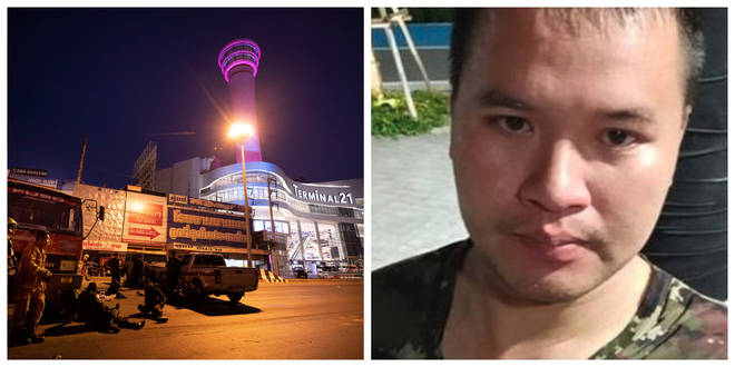 Officers outside Terminal 21 Korat shopping centre / gunman Jakrapanth Thomma