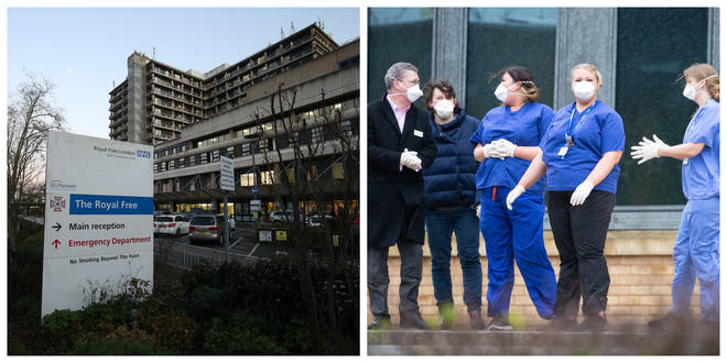 The patient has been taken to the Royal Free Hospital / nurses wait for patients at Kents Hill Park hotel and conference centre in Milton Keynes