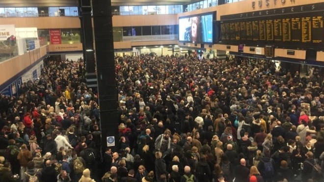 Euston station is exit only due to overcrowding