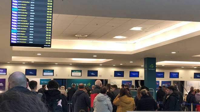 Dublin Airport, where multiple flights have been cancelled
