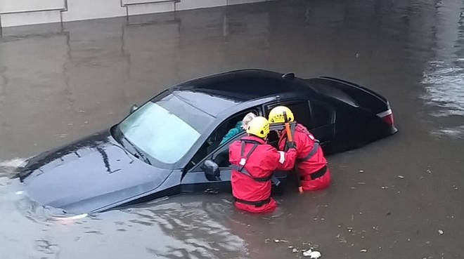 A driver had to be rescued in Blackpool
