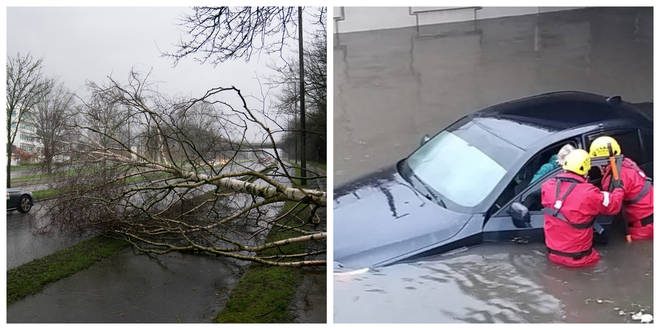 The storm has caused chaos across the UK